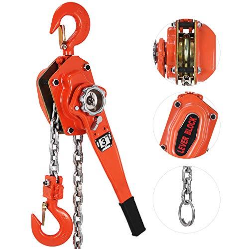 Mophorn Polipasto de Cadena Manual 3000kg 1.5m Incluido con Cable de Acero Palanca de...