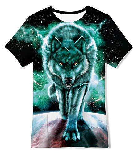 TUONROAD Kids' Short Sleeve T-Shirt Wolf Tee Shirts Summer Crewneck Graphic Tees Shirt Tops for Girls Boys 6-8T