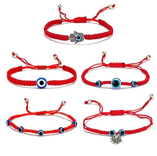 Pulseras rojas amuletos de la suerte y proteccion, pulsera roja mal de ojo,amuleto de buena suerte,Amistad pulseras de cuerda roja, regalo para familiares, amigos, madre, hija (5 pcs)