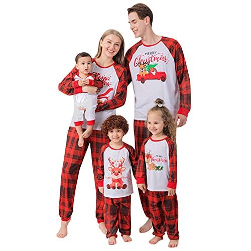 Pijama de Navidad para familia, pijama de Navidad, calentito, ropa de casa, ropa de dormir para mujer, hombre y niña, 2 unidades, Mujeres rojas., M