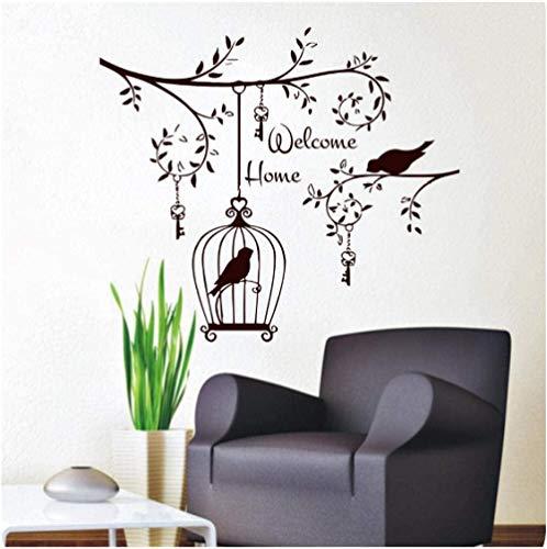 baozge Welcom Home Living Room Adhesivo Decorativo de Pared Pájaros en el árbol Vinilo extraíble Llaves Colgantes y calcomanías de Jaula de pájaros 59X70Cm