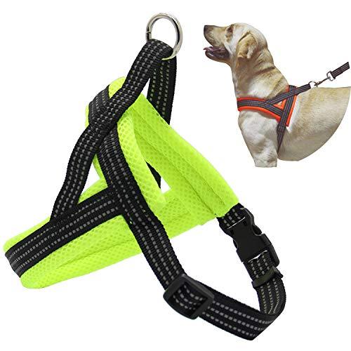 BPS® Arnés Correa para Perros Mascotas Collar Ajustable 4 Tamaños Colores para Elegir para Perro Pequeño Mediano y Grande (M, Verde)...