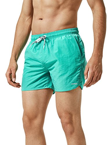 MaaMgic Mens Slim Fit Shorts Quick Dry Swim Trunks with Mesh Lining Male Bathing Suits,Green,Small(Waist:30