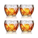 HLR Vasos de Whisky Jarra de Whisky De Cristal De Whisky Vasos, Whisky Premium Gafas, Gafas Bourbon For Cócteles, Roca Estilo Pasado De Moda De Bebida Cristalería, Juego De 4, 11 Oz