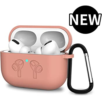 AirPods Pro Case,Soft Silicone Full Protective Shockproof Cover with Keychain Set Compatible for Apple AirPods Pro 2019 Front LED Visible