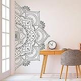 Mandala en media etiqueta de la pared Decoración para el hogar Etiqueta de vinilo extraíble para meditación Yoga Arte de la pared Sala de estar Dormitorio Mural-57x29 cm