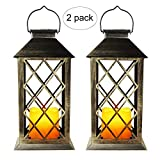 EXLECO Lanterna Solare Lanterna da Giardino Lanterne da Esterno con Effetto candela e fiamma per Decorazione Esterna, Giardino, Corridoio, Lampada Solare da Cortile [classe energetica A +](2Pcs)