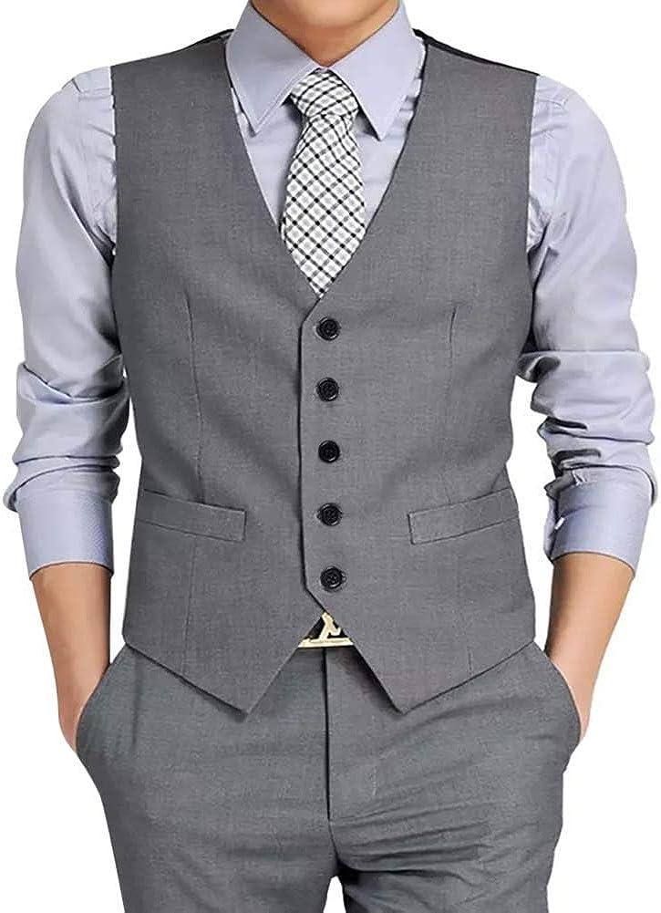 Men's Formal Suit Vest Sleeveless Slim Fit Business Waistcoat Wedding Party Prom Patchwork Tuxedo Top 5 Button Regular Fit