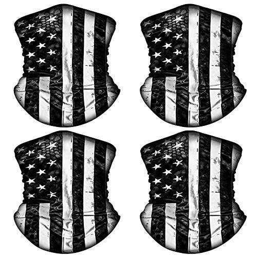 4 Pack American US Flag Face Bandana Balaclava for Men Women, Sun UV Dust Protection Reusable Washable Half Mask Scarf, Cooling Cloth Neck Gaiter Headwear for Cycling, Hiking, Fishing, Motorcycle-1