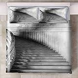 CQIIKJ Funda nórdica Impresa 3D Escalera de Caracol Gris Blanco Juego De Cama Funda de edredón de Microfibra Suave con Cierre de Cremallera, 2 Fundas de Almohada200 x 200 m