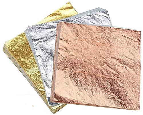 LATERN 300 Hojas Imitación Pan De Oro, Pan De Oro Rosa, Pan De Plata Para Proyecto Artístico, Artesanía Dorada, Decoración De Muebles, Arte De Uñas (14x14 Cm)