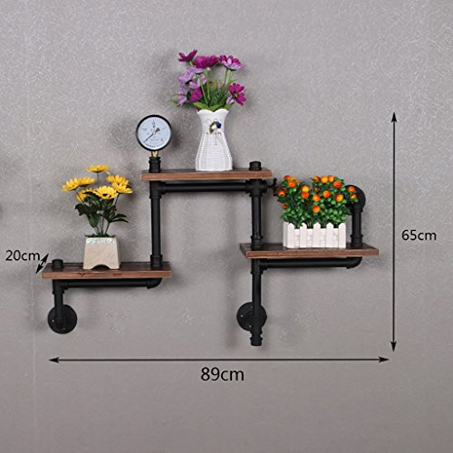 JJZSJ Supports de tuyau d'eau, étagères à vent industrielles vintage de grenier, supports fixés au mur en bois solide de fer forgé, décoration d'étagère (Couleur : B)