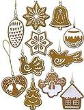HOMETOOLS.EU - 11 colgantes de árbol de Navidad con diseño de pan de jengibre, joyas, adornos navideños, adornos de Adviento, estilo retro vintage de granja, aprox. 4 x 4 cm, 11 piezas