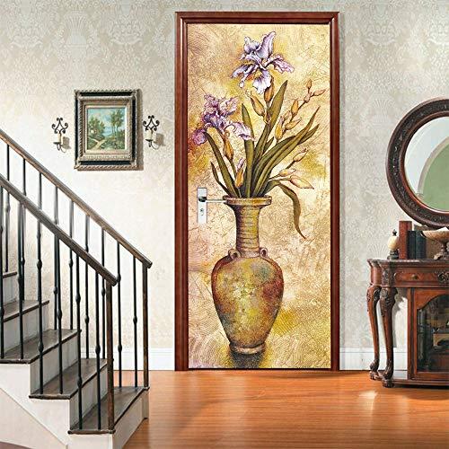 Deurbehang zelfklevend deurposter 3D Mooie bloemenvaas fotobehang deurfolie poster behang wandsticker vinyl afneembaar wandschilderij behang DHZ kantoor wooncultuur, 77 x 200 cm