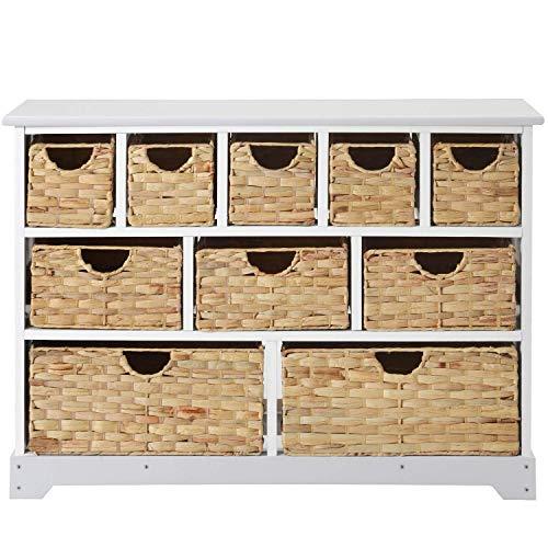 H-CAR Cómoda con 10 cestas, cajones, Armario Organizador de Almacenamiento Blanco Grande para Sala de Estar, Dormitorio, Pasillo, baño
