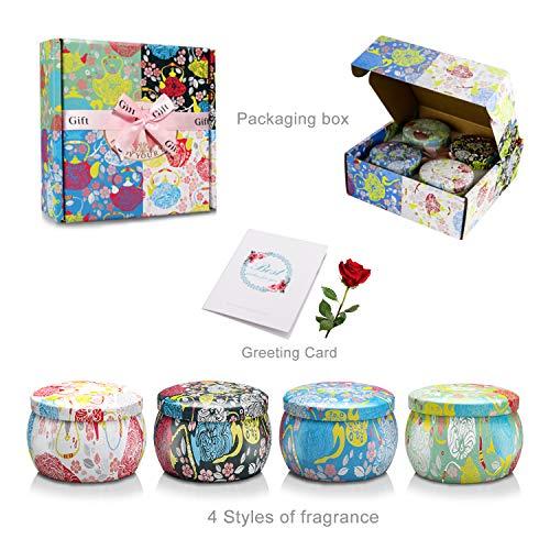 YUE GANG Duftkerzen Geschenkset für den Familienleben, Aromatherapie Kerze für Frauen, Muttertag,Geburtstag,Jubiläums, Geschenke an sie 4 Pack