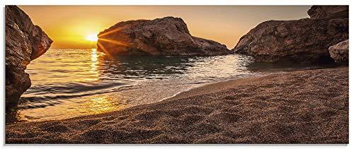 Artland Glasbilder Wandbild Glas Bild einteilig 125x50 cm Querformat Strand Meer Südsee Thailand Sonne Urlaub Sommer Natur Landschaft Felsen S7LF