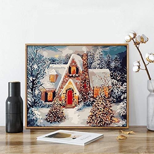 HCDZF Malen nach Zahlen Weihnachtslandschaft Kits Zeichnen Leinwand Handgemalte DIY ?lbilder nach Zahlen f¨¹r Dekore Winter Landschaft 40x50cm