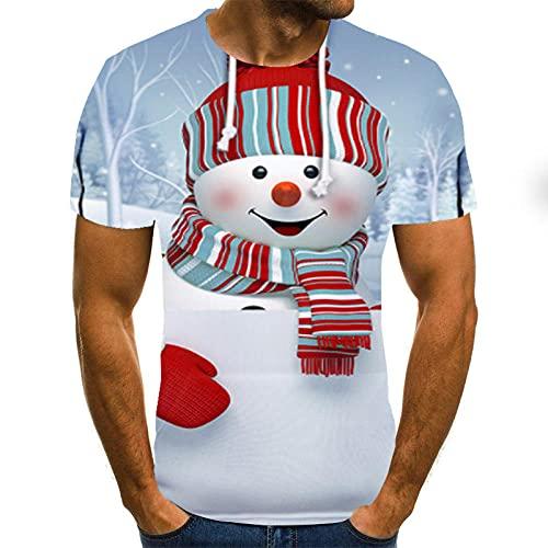 HGFHKL Camiseta de Manga Corta con Estampado 3D de muñeco de Nieve Lindo para Hombre Camiseta Informal de Verano con Cuello Redondo Patrón Divertido