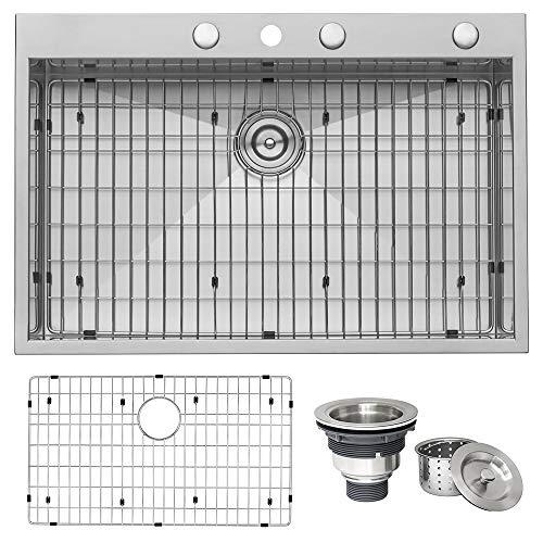 Ruvati 33 x 22 Inch Drop-in Topmount 16 Gauge Zero-Radius Stainless Steel Kitchen Sink Single Bowl