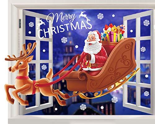 Tuopuda Weihnachten Fensterbilder Weihnachtssticker Fenstersticker Weihnachtsmann Aufkleber Wandaufkleber Fensteraufkleber PVC Weihnachtsdeko für Türen Schaufenster