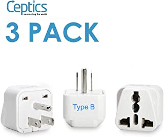 Ceptics AUS to US, Canada, Japan Universal Travel Plug Adapter (Type B) - Perfect for Traveling to N. America - Charge your Cell Phones, Laptops, Tablets - Grounded - 3 Pack (GP-5-3PK)