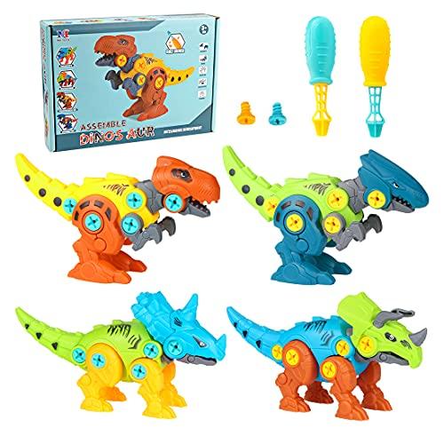 O-Kinee Dinosaurios Juguetes con Taladro Eléctrico, 4pcs Construccion Puzzle Dinosaurios Juguetes, DIY Dinosaurios Juguete de Montaje, Construccion Juguete Dducativos Regalos para Niños Niñas