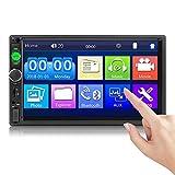 CAMECHO Bluetooth 2 DIN Autoradio 7010B Touchscreen da 7 Pollici Mirror Link per Telefono iOS/Android Lettore FM per Auto MP5 USB SD AUX-in