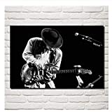 Stevie Ray Vaughan music guitar musicians blues rock monochrome living room Home art Decoration fabric Posters -50x75cm No Frame
