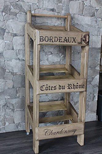 Estante del vino, madera, carretilla, diseños de pirograbado, para 12 piezas de botellas
