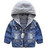 Garçons Capuche Veste en Jean Blouson Enfant Manteau Casual Manches Longues éclair Bleu Denim Haut Vêtements Printemps Automne Outwear (90 cm)