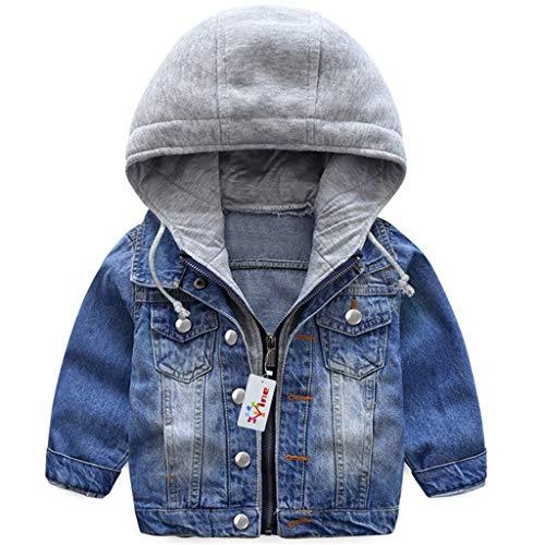 Jungen Jeansjacke Kinder Jeans Jacke Mantel Kapuze Langarm Blau Denim Tops Kleidung ReißVerschluss FrüHling Herbst Casual Outwear Blau 1-2 Jahre (90cm)