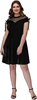 TS Women's A-Line Jewel Neck Short Mini Velvet Prom Dress with Bows Crystals