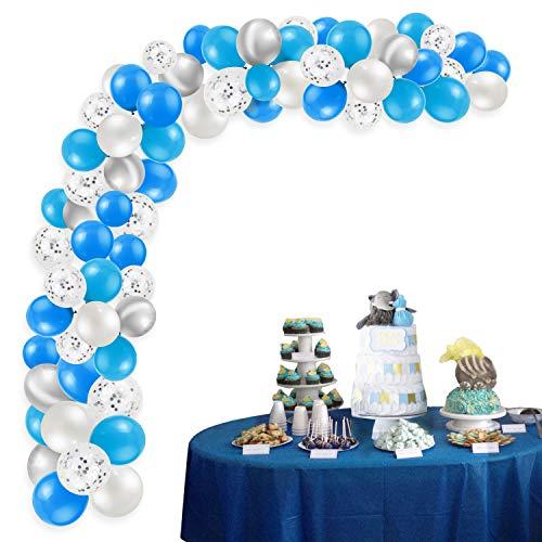 HOWAF 108Pcs Kit de guirnaldas con Globos, Globos de Confeti Azules y Blancos Globos de Helio Metalizados Plata Globos de látex para Bodas, Fiestas, Baby Shower niño, cumpleaños Decoraciones