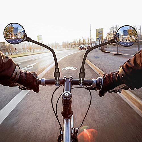 Espejo retrovisor de bicicleta ajustable giratorio de 360 grados traseros espejos de manillar, montaje retrovisores convexo universal para bicicleta de montaña, carretera, moto