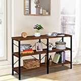55' 3-Tier Console Table for Entryway, Hallway,Industrial Wood Narrow Entry Sofa Table for Living Room,Black Metal Frame with Open Storage Shelves