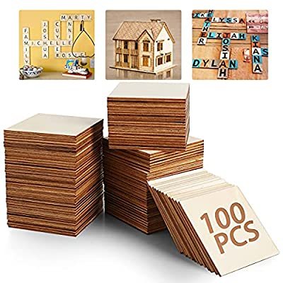 5ARTH Unfinished Wood Board - Blank Natural Slices Wood Square for DIY Crafts Painting, Scrable Tiles, Coasters, Pyrography, Decorations