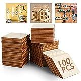 Tabla de madera sin terminar, 100 piezas de 7,6 x 7,6 cm, cuadrados de madera natural en blanco para manualidades, pintura, Scrabble, posavasos, pirografía, decoraciones