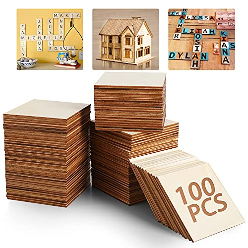 Lavagna in legno grezzo – 100 pezzi da 7,6 x 7,6 cm in bianco naturale per fai da te fai da te pittura, piastrelle di scarabeo, sottobicchieri, pirografia, decorazioni