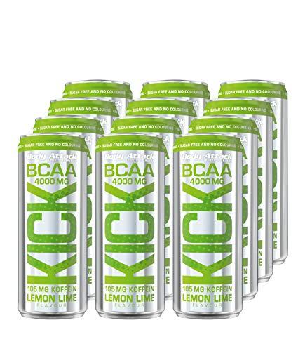 Body Attack BCAA Kick, Bevanda energetica, 12 lattine da 300 ml