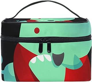 Makeup Organizer Rhinoceros Cartoon With Crossed Arms Womens Zip Toiletry Bag Large Case Cosmetic Bags