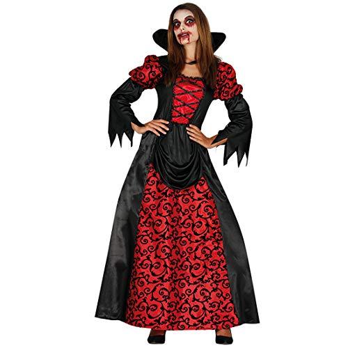 Amakando Disfraz Vampiro para Mujer / Rojo-Negro XL (ES 48/50) / Disfraz gtico Bruja para Dama / Insuperable para Fiestas temticas y Halloween