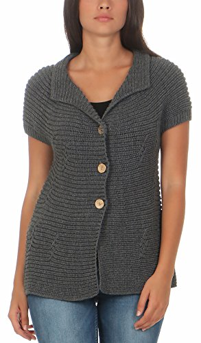 Malito Damen Strickweste mit Knöpfen   Cardigan im eleganten Design   Oversize Look - Weste - Jacke- Strickjacke 5060 (grau)