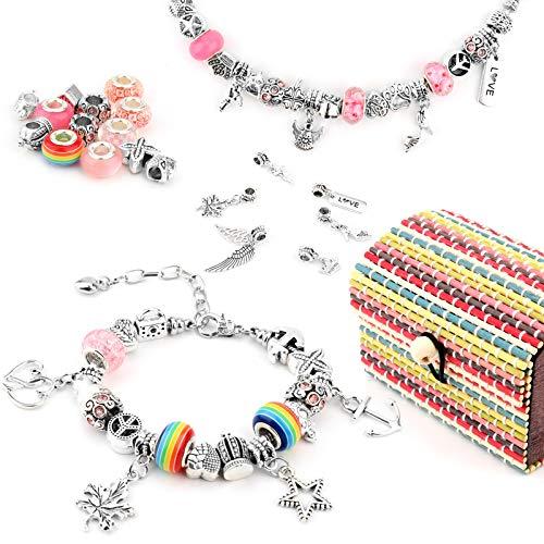 Smyckesskapande kit för flickor berlockarmband att tillverka set med presentask DIY konst och hantverk för barn berlockarmband för flickor tonåringar barn med 3 st silverpläterade armbandskedjor