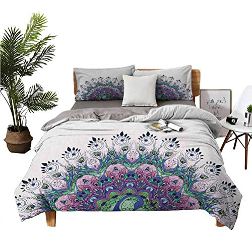SUZM Peacock Wrinkle-Free Breathable Refreshing Refreshing to The Touch Luxurious Cotton 3-Piece Set Peacock Illustration Exotic Wildlife Feather Ornament Vintage Oriental Super Soft Anti-wri