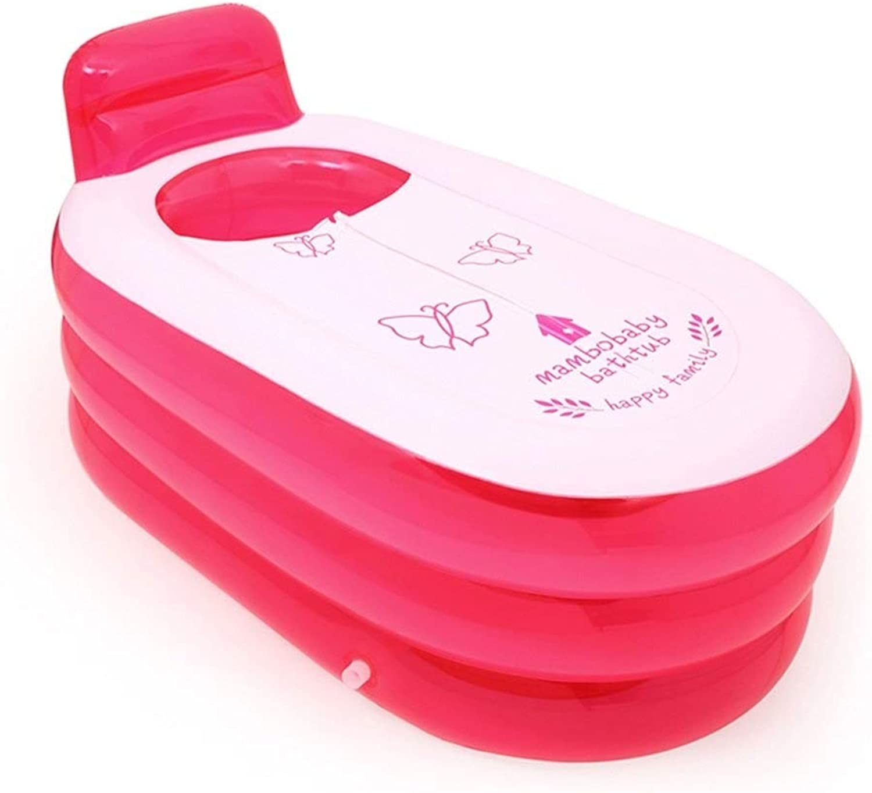 GWM Badewanne Aufblasbare Badewanne Home Large verdicken Keep Temperature Folding mit Reiverschlussabdeckungswanne Swimmingpool-Erwachsenbadewanne (Farbe   Transparent rot)