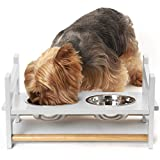 Furhaven Pet Feeder - Ladder Style Height Adjustable Raised Kitchen Pet Feeding Station with Stainless Steel Food Bowls for Dogs and Cats, White, Small