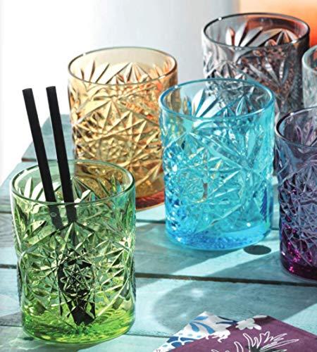 Pagano Home 6 vasos de cristal para agua/wisky, colores surtidos, multicolor, capacidad 300 ml, diseño de pvintage (rojo, transparente, lila, verde, naranja celeste)