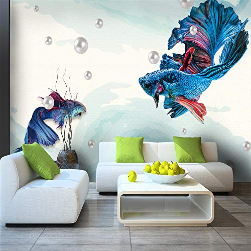 Muurschildering Muurschildering Muralscustom Behang Donkerblauw Abstract Lijnen Guppies Juwelen Achtergrond Wanddecoratie Waterdicht Materiaal About 300*210cm 3 stripes