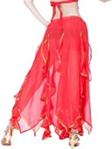Belly Dance Skirt, Dance Practice Clothing Skirt Sequin Skirt Women's Average Size, Skirt Length Of About 90CM, Waist Circumference About 60-110CM (Color : Pink, Size : M)